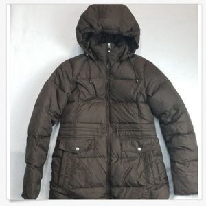 Lands' End brown puffer coat xs